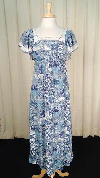 1960s Ruffle Hippie Maxi Dress