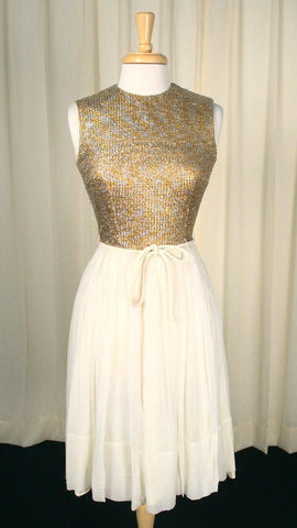 1960s Silver & Gold Party Dress - Cats Like Us