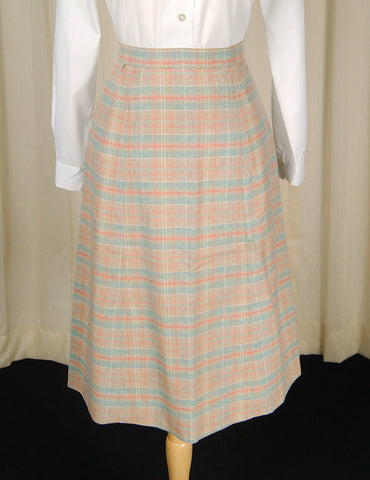 1960s Sky Blue & Tan Skirt by Cats Like Us - Cats Like Us