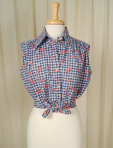 1960s Sleeveless Cherry Blouse by Cats Like Us - Cats Like Us