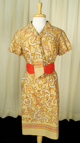 1960s Tan Paisley Tie Dress by Vintage Collection by Cats Like Us : Cats Like Us