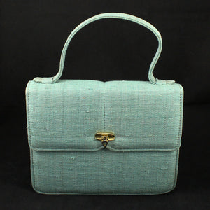 1960s Vintage Teal Fabric Box Handbag