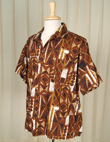 1960s Tiki Tile Hawaiian Shirt by Cats Like Us - Cats Like Us