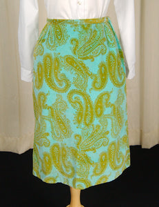 1960s Turquoise Paisley Skirt by Cats Like Us - Cats Like Us