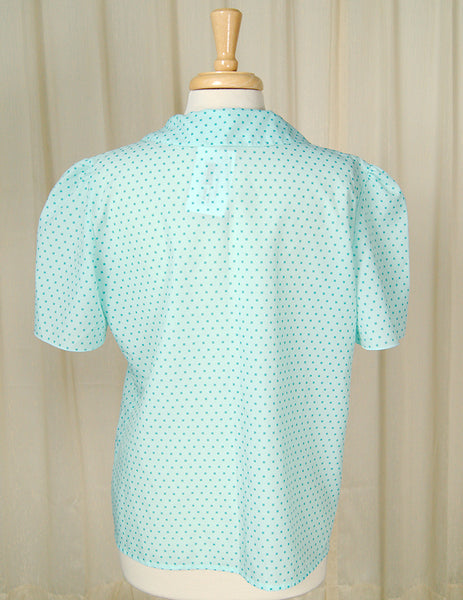 1960s Turquoise Squares Blouse by Cats Like Us - Cats Like Us