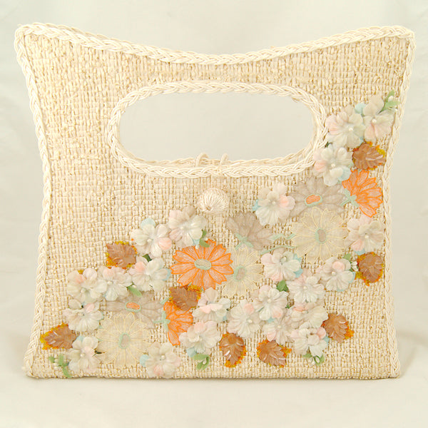 1960s Velvet Floral Straw Bag by Cats Like Us - Cats Like Us