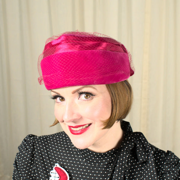Vintage 1960s Velvet Rasp Pillbox Hat