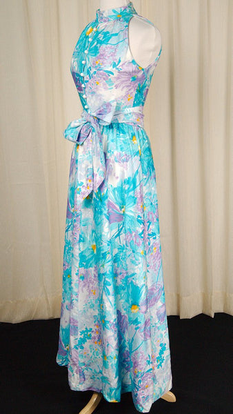 1960s Watercolor Maxi Dress - Cats Like Us