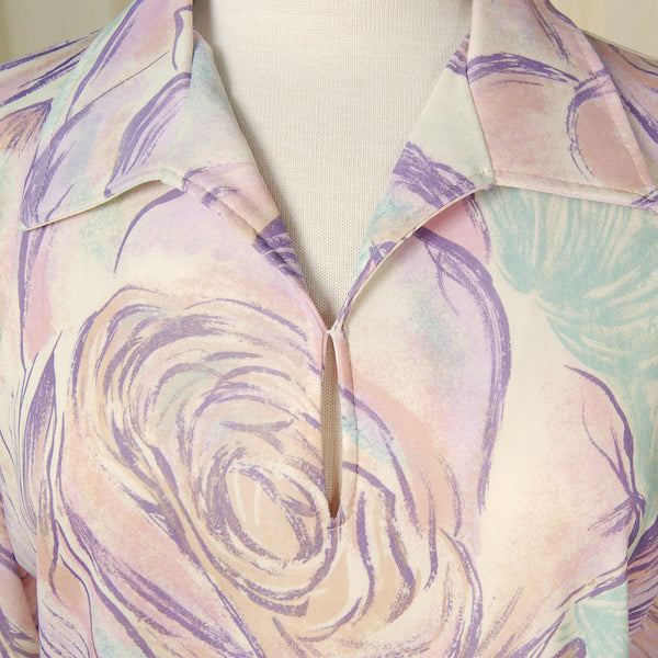 1960s Watercolor Roses Blouse by Cats Like Us - Cats Like Us