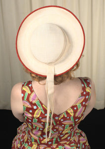 1960s White & Red Sailor Hat - Cats Like Us