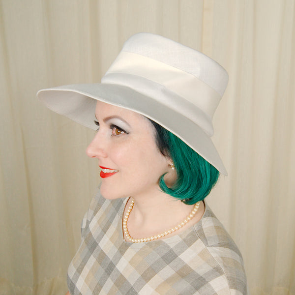 1960s White Big Brim Hat by Cats Like Us - Cats Like Us