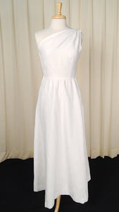 1960s White Grecian Maxi Dress - Cats Like Us