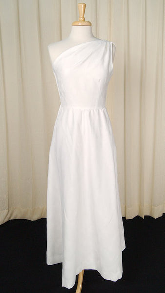 1960s White Grecian Maxi Dress