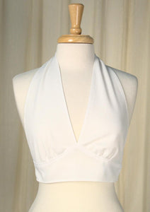 1960s White Halter Crop Top