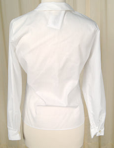 1960s White Long Sleeve Blouse by Cats Like Us - Cats Like Us