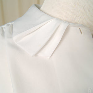 1960s White Pleat Collar Blouse by Cats Like Us - Cats Like Us