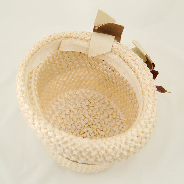 1960s White Rose Raffia Hat by Cats Like Us - Cats Like Us