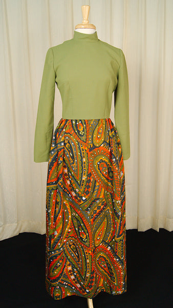 1960s Wild Green Maxi Dress by Cats Like Us - Cats Like Us