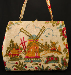 1960s Windmill Cabin Carpet Bag