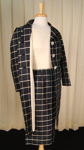 1960s Window Pane Coat Dress