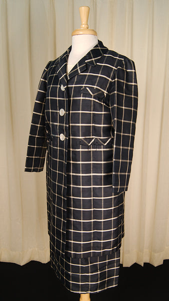 1960s Window Pane Coat Dress by Cats Like Us - Cats Like Us