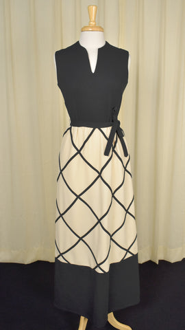 1960s Windowpane Vintage Maxi Dress