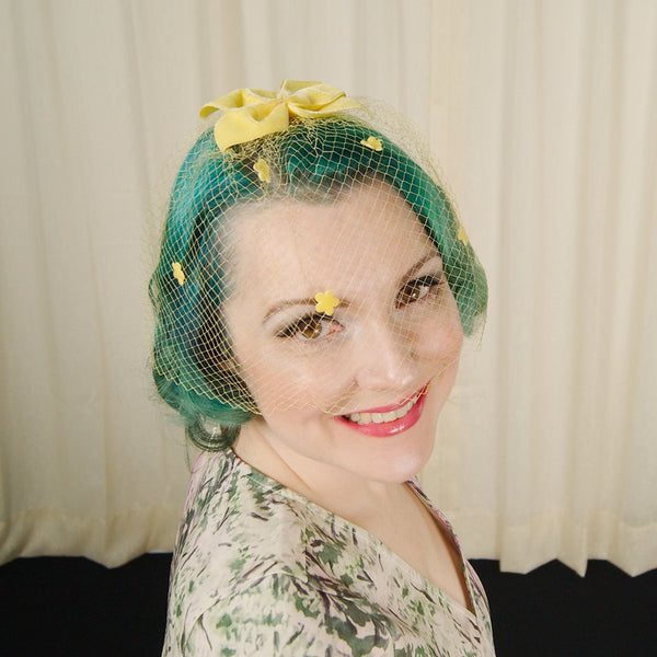 1960s Yellow Bow Veil Whimsy