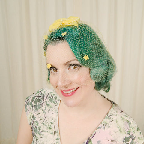 1960s Yellow Bow Veil Whimsy - Cats Like Us
