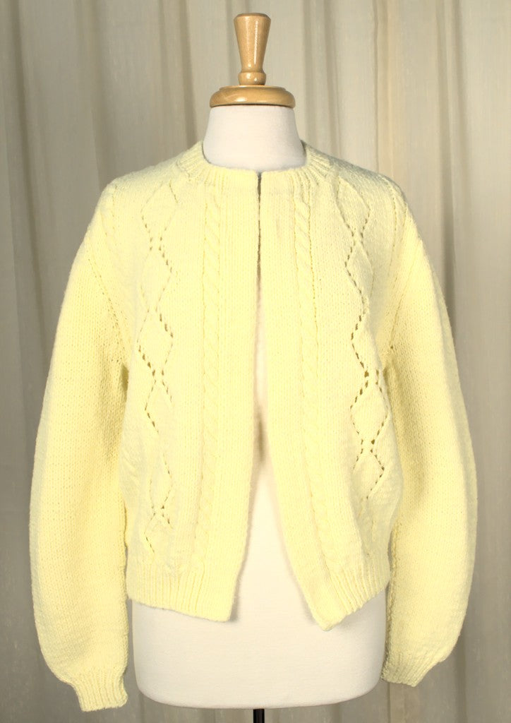 1960s Yellow Diamond Cardigan