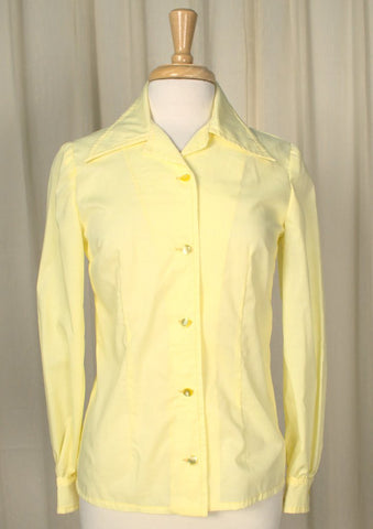 1960s Yellow Handmade Blouse