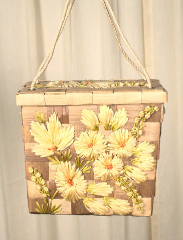 1960s Vintage Yellow Raffia Box Handbag