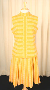 1960s Yellow Striped Vintage Skirt Set