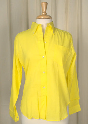 1960s Yellow Textured Shirt - Cats Like Us