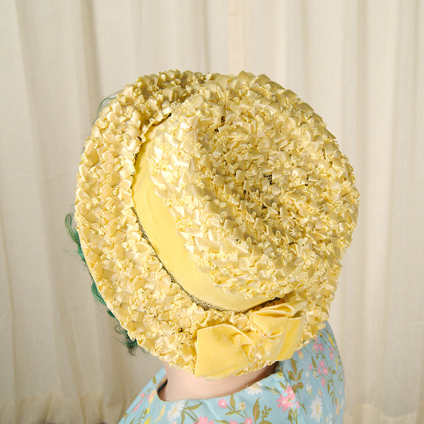 1960s Yellow Velvet & Straw Hat by Cats Like Us - Cats Like Us