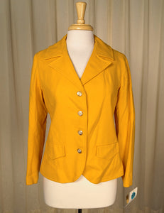 1960s Yellow Wool Blazer Jacket by Cats Like Us - Cats Like Us
