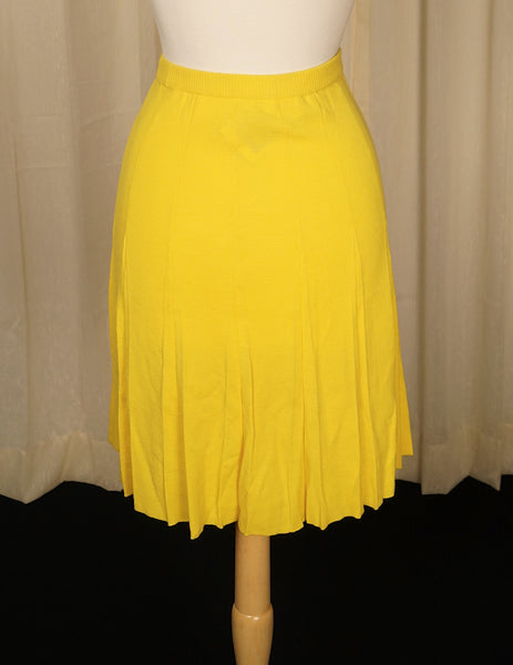 1960s Yellow Wool Knit Skirt by Cats Like Us - Cats Like Us