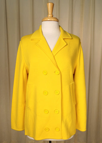1960s Yellow Wool Pea Coat