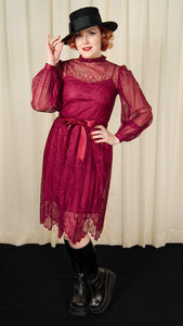 1970s Burgundy Lace Witch Dress