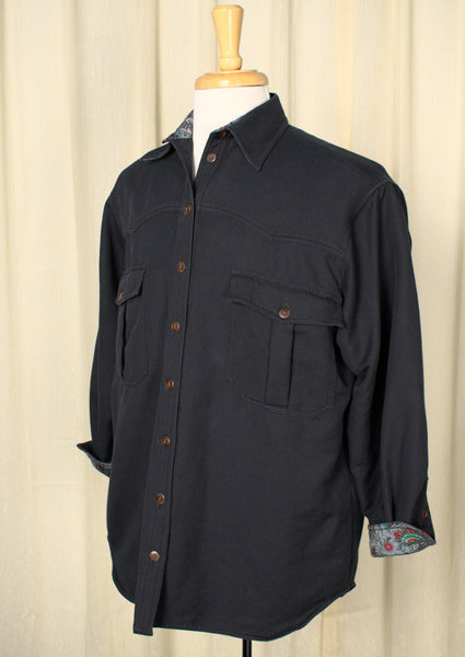 1970s Flannel Lined Navy Shirt