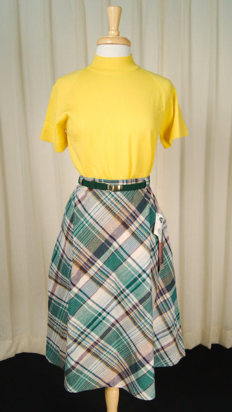 1970s Green & Beige Plaid Skirt by Cats Like Us - Cats Like Us