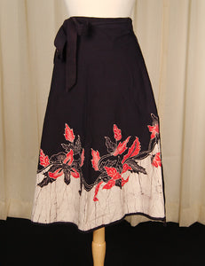 1970s Leaf Batik Wrap Skirt