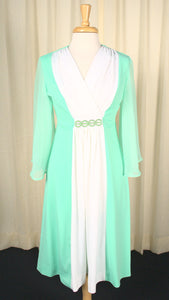 1970s Mint Vintage Flowy Sleeve Dress