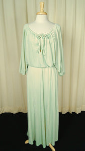 1970s Mint Maxi Gown Dress - Cats Like Us