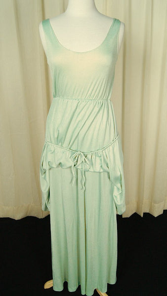 1970s Mint Maxi Gown Dress