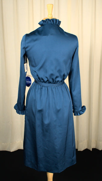 1970s Navy Ruffle Dress