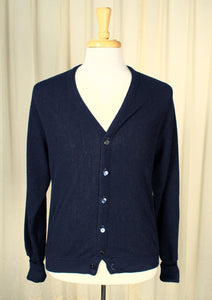 1970s Navy V Neck Cardigan