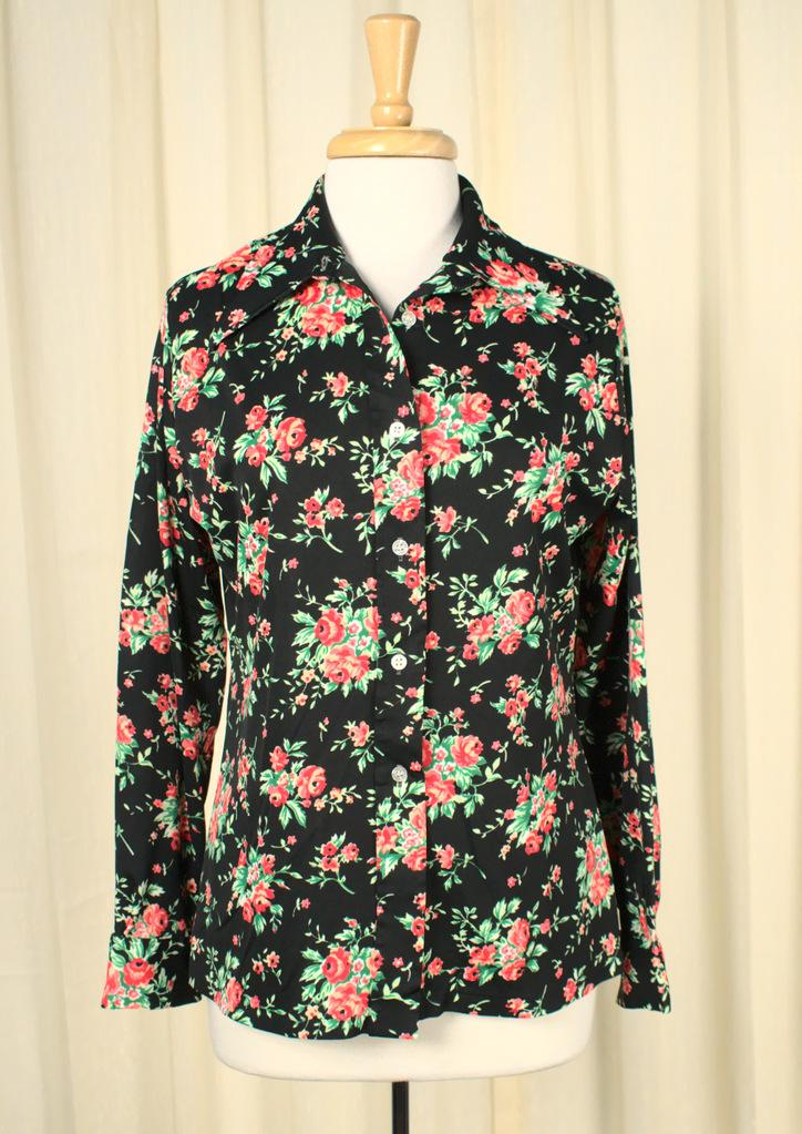 1970s Neon Roses Disco Blouse