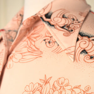 1970s Orange Floral Shirt Dress