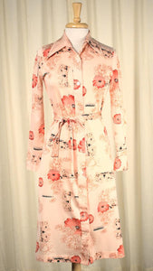 1970s Orange Floral Shirt Dress - Cats Like Us