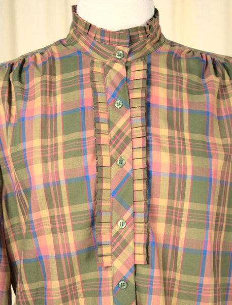 1970s Pink Plaid Ruffle Blouse